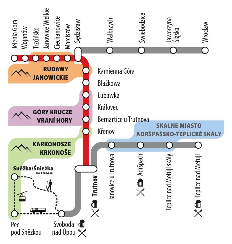 Pociąg Jelenia Góra - Trutnov - ulotka Kolei Dolnośląskich
